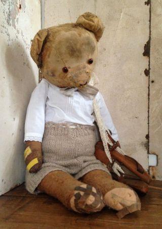 Antik Teddy - Bär Schlittschuhe Bekleidet Gros Leinen Stroh Frankreich Shabby Deko Bild