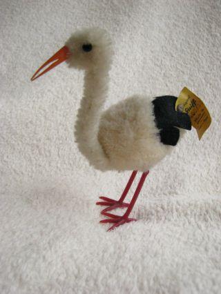 Steiff Woll Storch,  Woolen Stork 7460/11 Mit K/f Bild