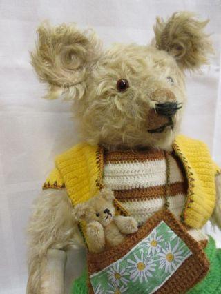 Großer Mohair Teddy (530 Mm) & Miniatur Teddy Mit Knopfaugen Bild