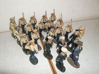 Konvolut Elastolin / Lineol / Durso / Lisanto 21 Soldaten,  1offizier Marine 7cm Bild