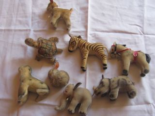 Steiff 50er Jahre Lamm,  Zebra,  Schildkröte,  Häschen,  Elefant,  Nashorn,  Seehund U Bild