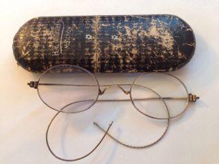 Antike Nickelbrille Um 1915 Mit Etui Brille Metal - Rimmed Glasses 1900 Biegsam Bild