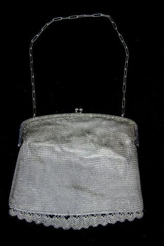 Antike Damen Operntasche Alpacca Versilbert Handtasche Kettentasche 15x16 Cm Bild