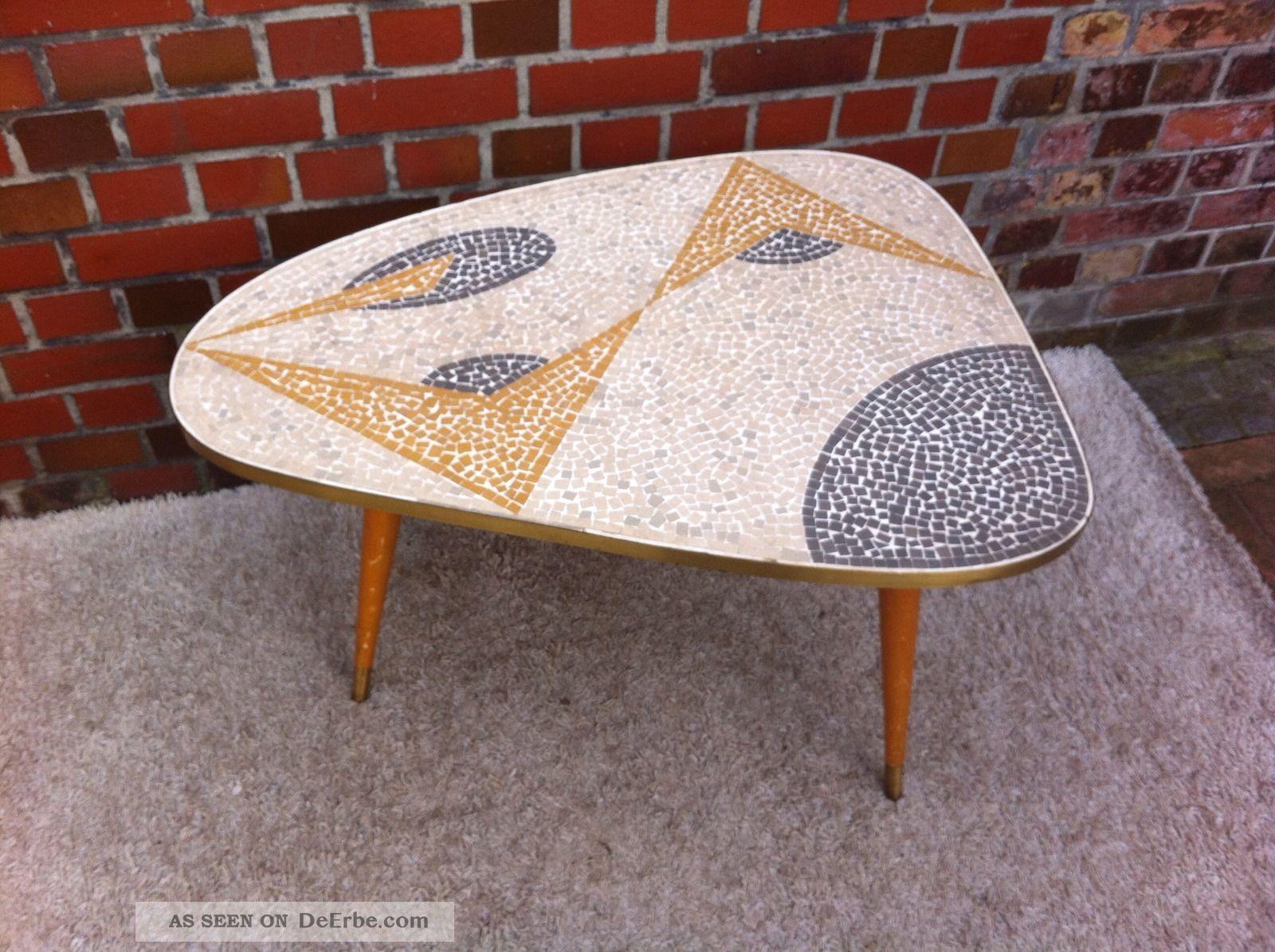 Cocktail Tisch 50er Jahre Mit Holz Beinen Nierentisch Mit Mosaik