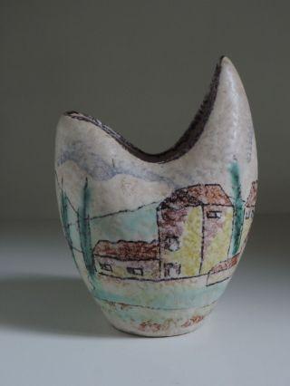 Vase,  Keramik,  50er Jahre,  Dekor Landschaft,  Höhe 13 Cm Bild