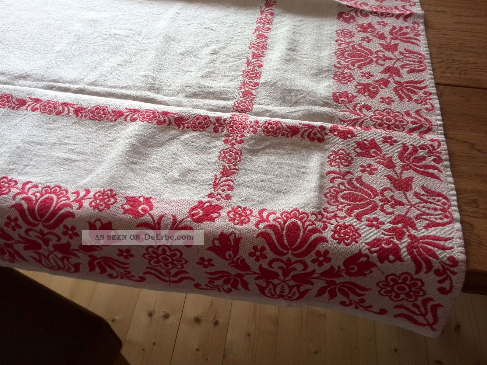 alte leinen tischdecke natur rot landhaus shabby chic 145cm x 115cm rechteckig. Black Bedroom Furniture Sets. Home Design Ideas