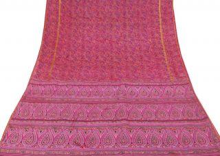Vintage Indian Saree Pure Silk Printed Fabric Décor Craft Floral Magenta Sari Bild