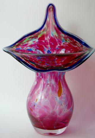 Jugendstil - Vase Aus Mundgeblasenem Transparentem Glas & Farbigen Einschmelzungen Bild