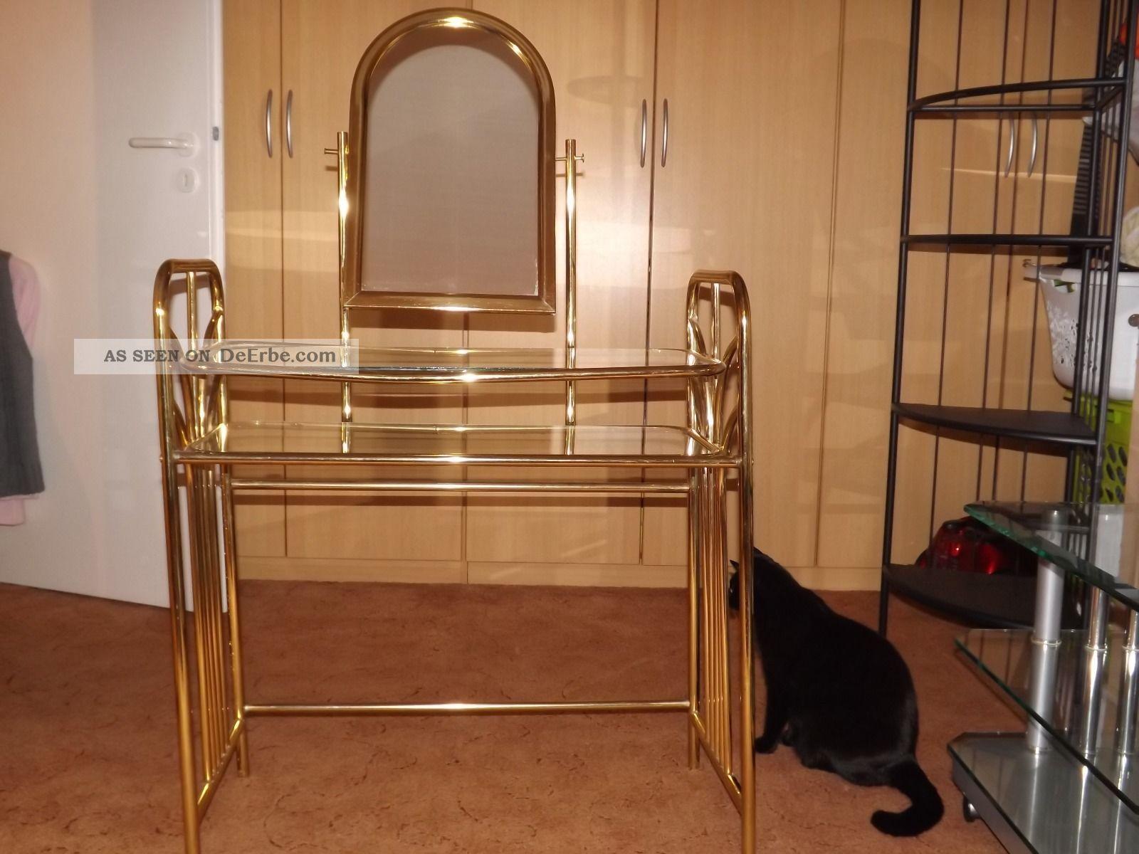 ein wundersch ner alter schminktisch mit stuhl aus messing und glas. Black Bedroom Furniture Sets. Home Design Ideas