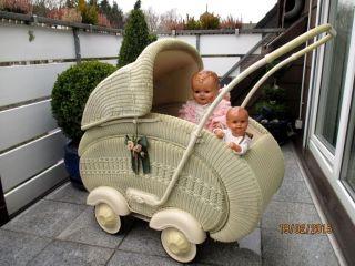 Sehr Schöner Alter Korb Kinderwagen Kombinierbar 50 J.  Puppenwagen Bild