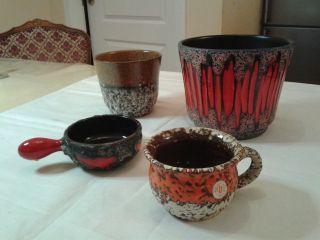 4 Fat Lava 70er Übertopf Blumentopf Übelacker Pottery Keramik 19cm D945 Konvolut Bild