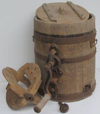 Museales Schlag - Butterfass Aus Holz Zur Dekoration,  Höhe 49 Cm, Bild
