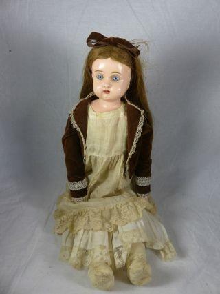 Uralt Minerva Blustblattkopf Puppe Mit Metallkopf,  Lederkörper,  Alter Kleidung Bild