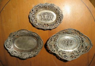 3 Alte 800 - Silber Körbchen Putten - Schalen Cherub Bowls Putto Baskets Bild