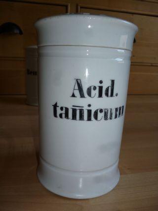 Apothekentiegel Antik 18 Cm Hoch Porzellan Apotheke Gefäß Um 1900 Acid.  Tanicum Bild