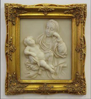 Relieff Bild Madonna Vintage Goldfarben Barockrahmen Geschenk 21,  5 X 19 Cm. Bild