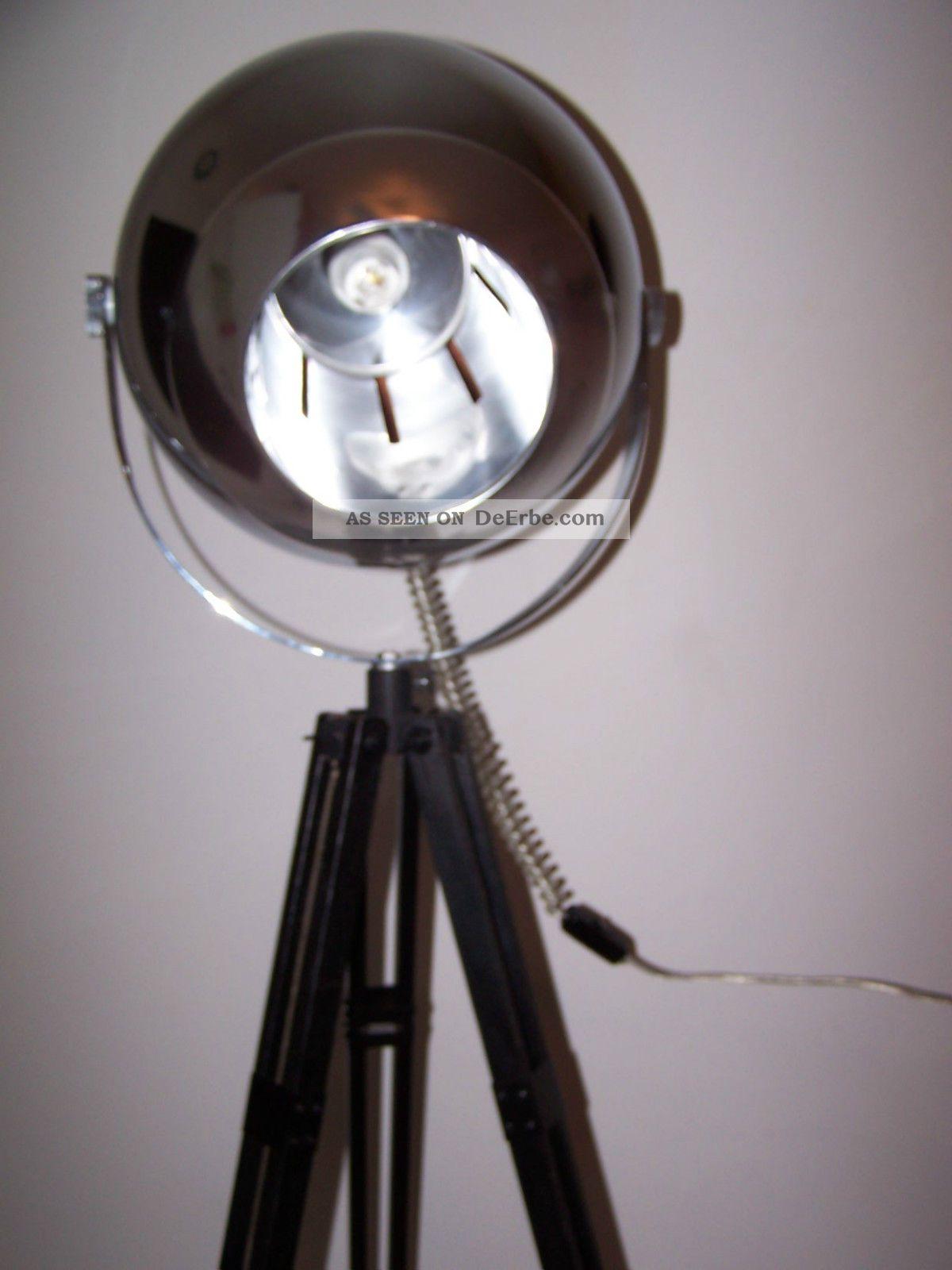 bauhaus stehlampe tripod lampe art deco chrom kugel strahler mid century lamp. Black Bedroom Furniture Sets. Home Design Ideas