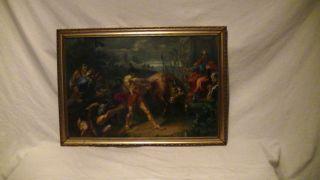 Altes Ölgemälde Handgemalt,  Historische Szene,  Muskulöser Mann,  Stier,  König Bild