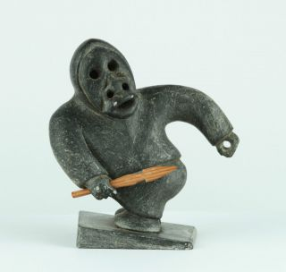 Inuit Skulptur Jäger Grönland Stein Carved Greenland Inuit Sculpture Bild