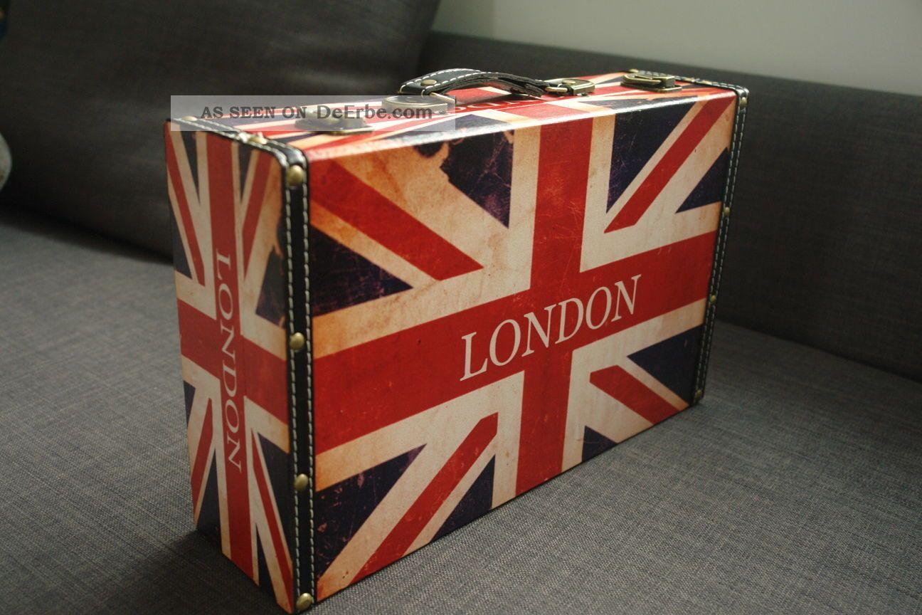 Koffer Holz Leder Bedruckt Reise Deko England Flaggenmotiv