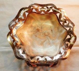 Zier/konfektschale Silberschale Wmf Ikora Durchbrochener Rand Kugelfüße 50/60er Bild