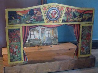 Altes Puppentheater Mit Theaterkulissen 1920/30er Tschechien Marionette Theater Bild