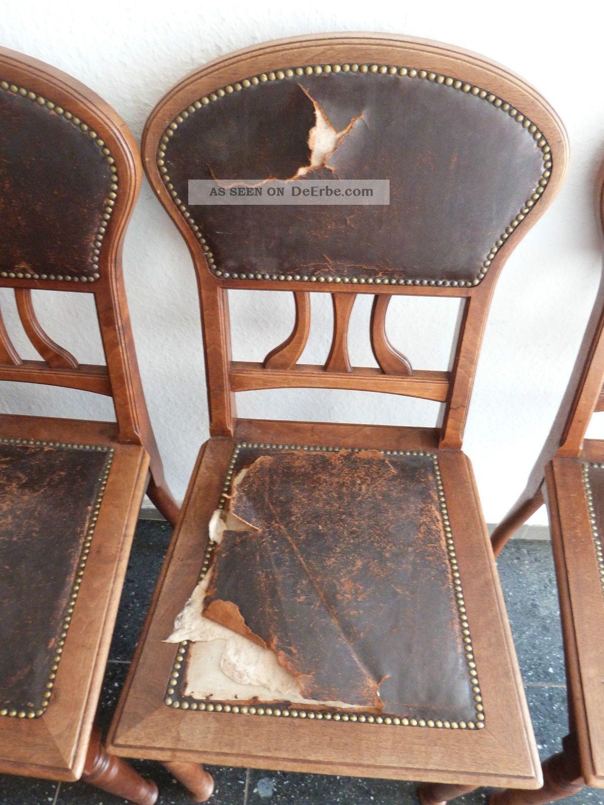 4 Jugendstil Stühle Mit Lederbezug Im