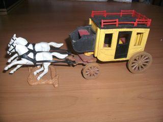 Timpo Postkutsche Wilder Westen Kutsche Wells Fargo Cowboy Cremefarbige Räder Bild