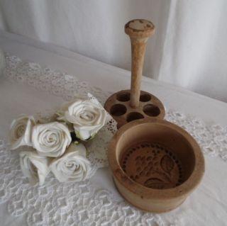 Uralt Antik Model Buttermodel Model Form Holz Jdl Shabby Landhaus Frankreich Dek Bild