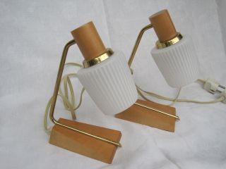 Paar Lampen Messing Helles Holz 2 Nachttischlampe Tischlampe 50 - 60 Er Jahre Bild