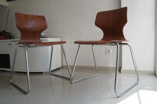 2x FlÖtotto Dining Tracking Chair Stühle Stapelstuhl Stuhl Chrom Pagholz Bild