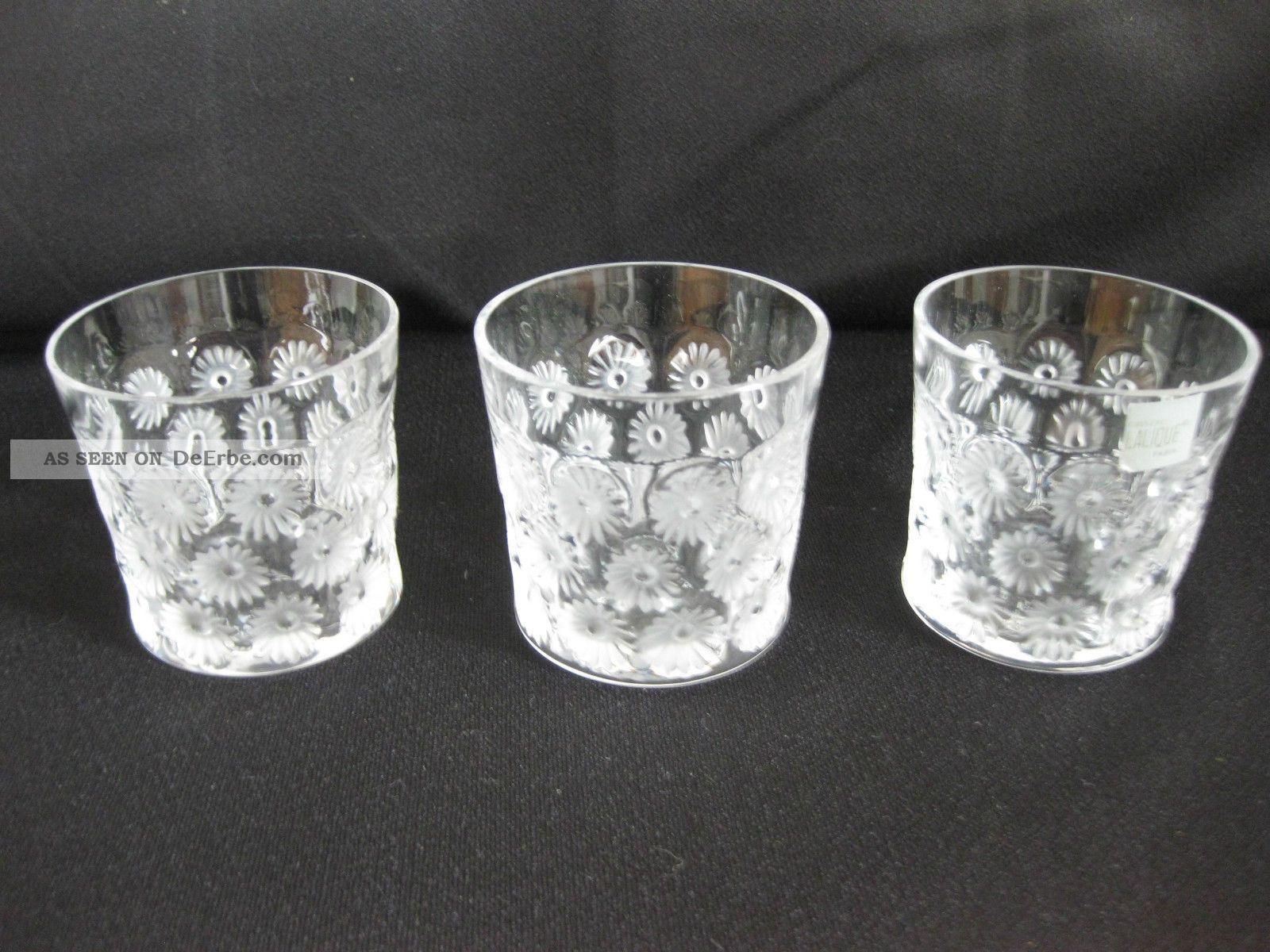 Lalique 3 Gläser Glas Blumendekor Lalique France