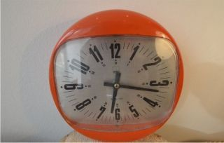 70er Spaceage Wanduhr Shg Orange Clock Pop Plastic Bild