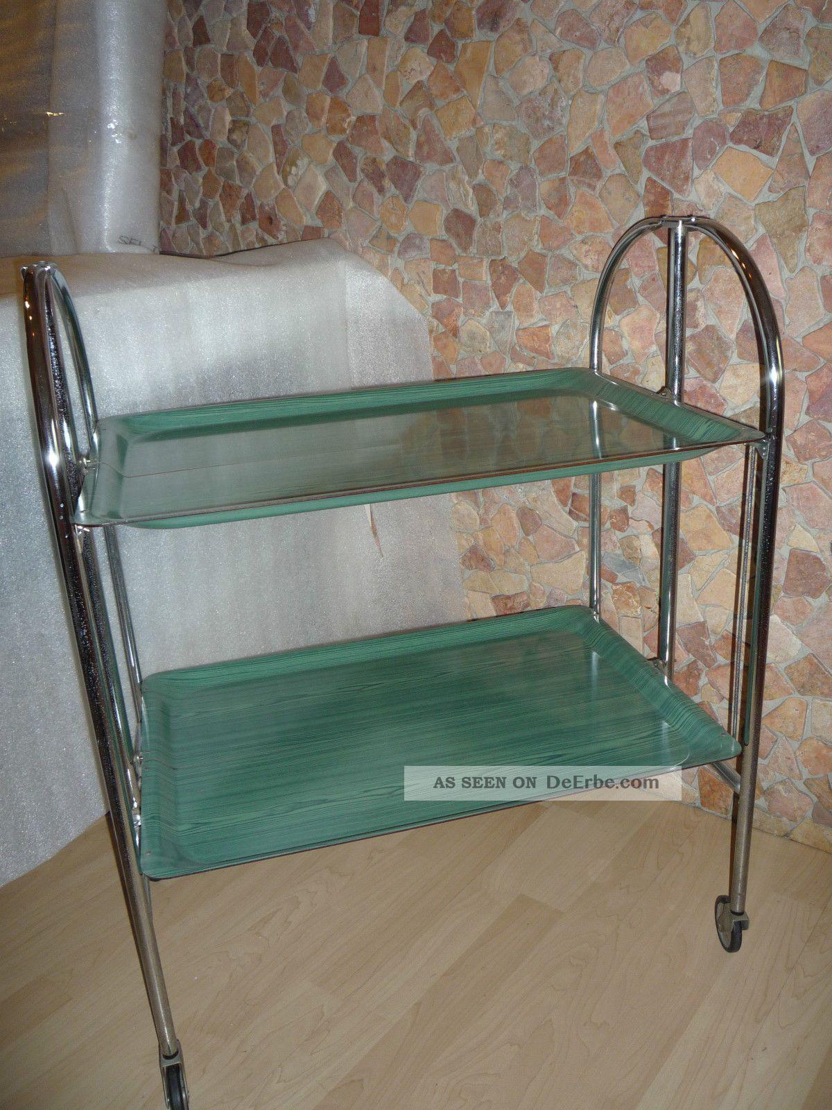 servierwagen gr n beistelltisch teewagen klappbar 70er. Black Bedroom Furniture Sets. Home Design Ideas
