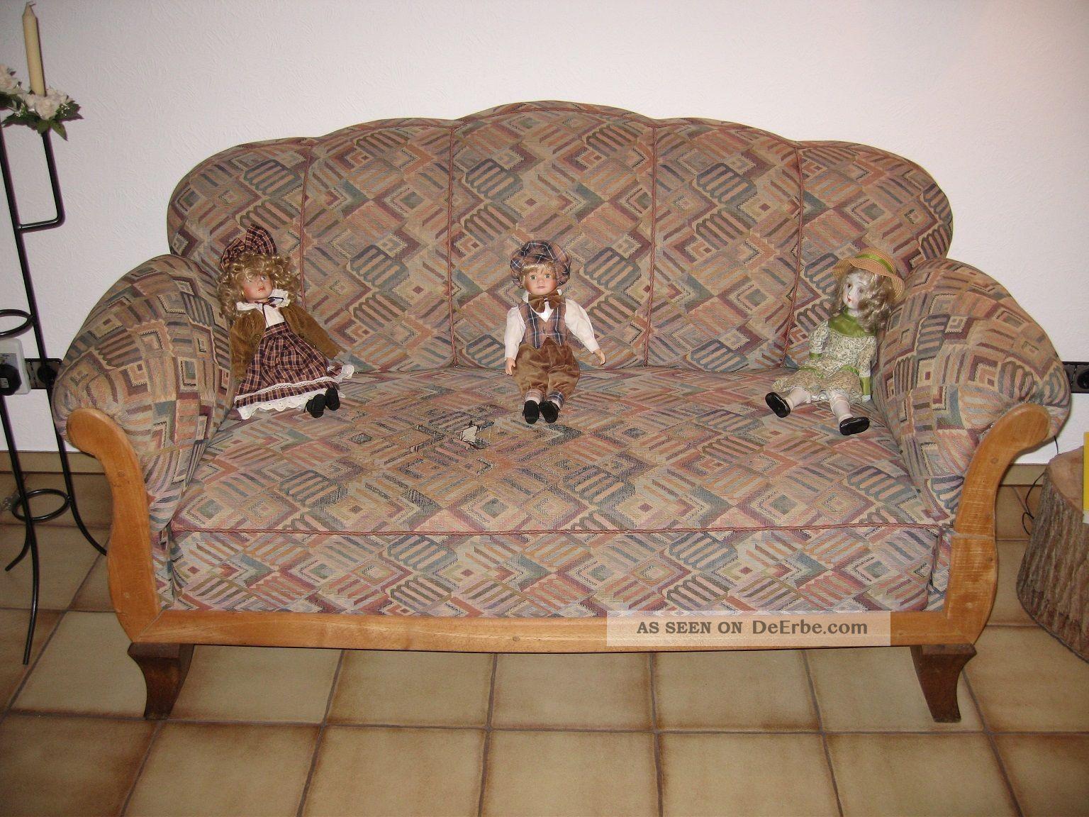 antikes sofa liegesofa holz stoff schlafsofa alt antik garnitur. Black Bedroom Furniture Sets. Home Design Ideas