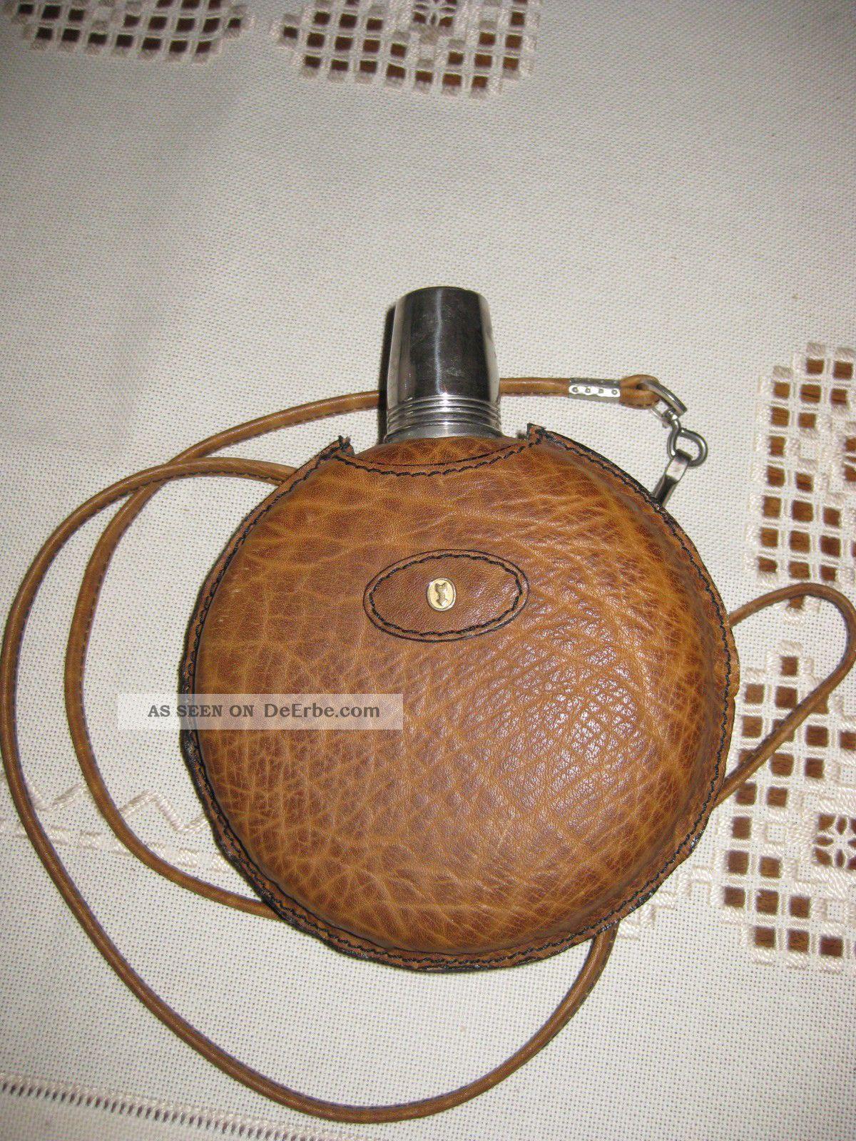 4d657582dc839 Flachmann Caracciola Goldpfeil Leder Taschenflasche Flasche Rarität Inkl  Becher Bild