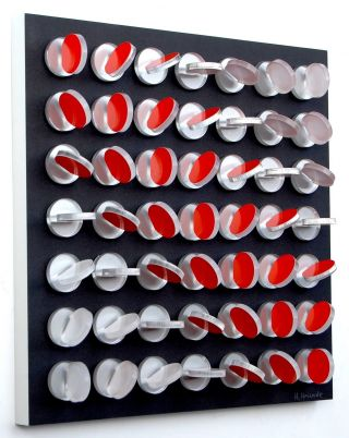 Wandobjekt,  Konkrete Kunst,  Op Art,  Kunststoff,  Handsigniert,  H.  Heinecke,  D37 Bild