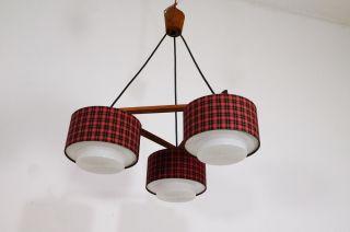Midcentury Deckenlampe Teak 3 Schirme 3x E14 Modern Danish Design 60er Sixties Bild