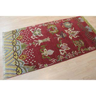 Dekorativer Schöner Alter Handgeknüpfter Orient Teppich China Art Deco 95x185cm Bild