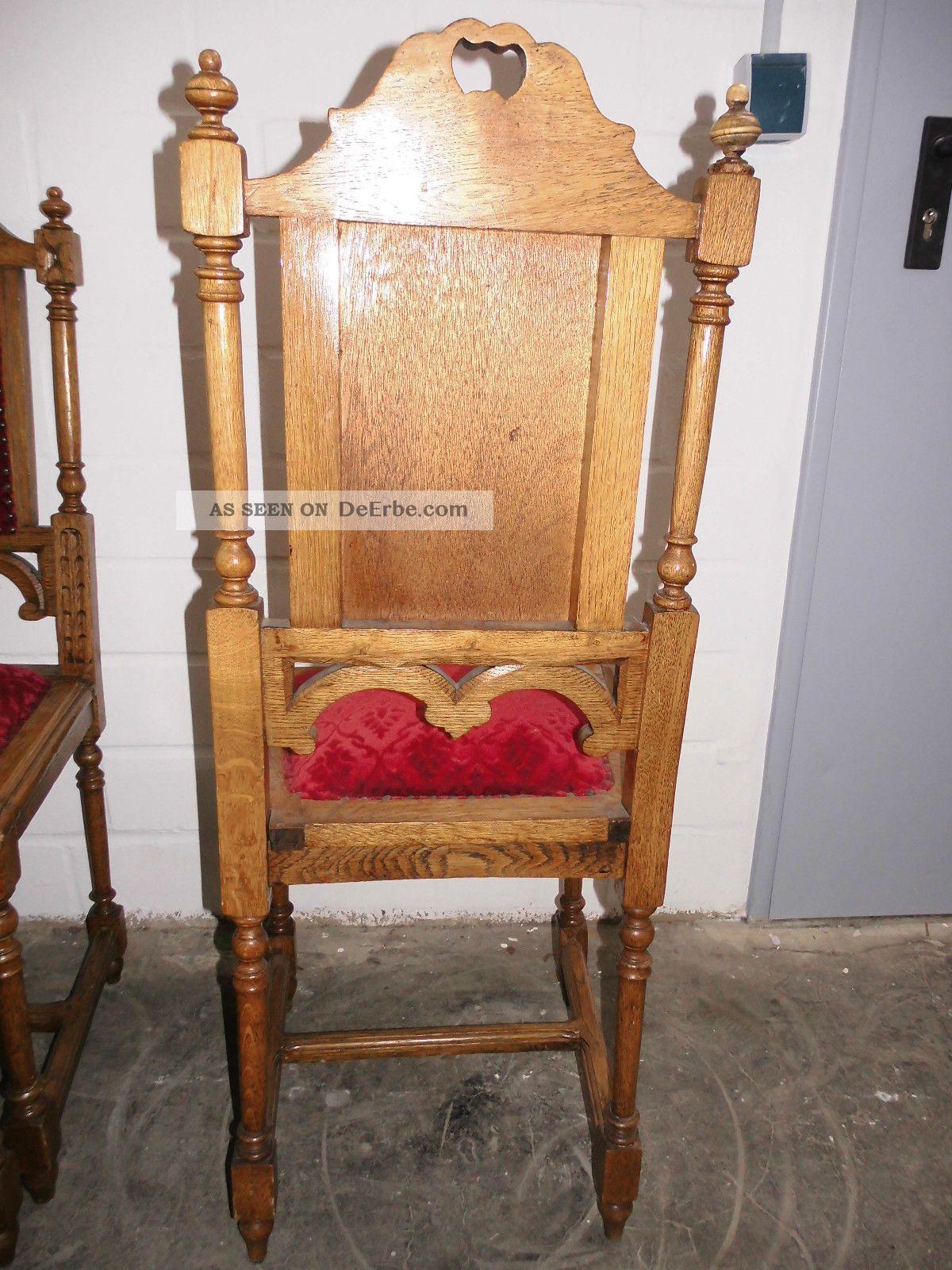 antike hochlehnerst hle st hle gepolstert eiche massiv gr nderzeit. Black Bedroom Furniture Sets. Home Design Ideas