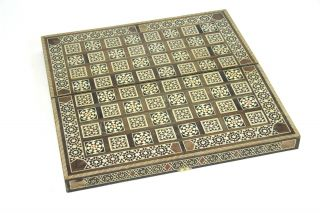 Hochwertiges Altes Schachbrett Backgammon Reiseschach Bein Intarsienarbeit 40x40 Bild