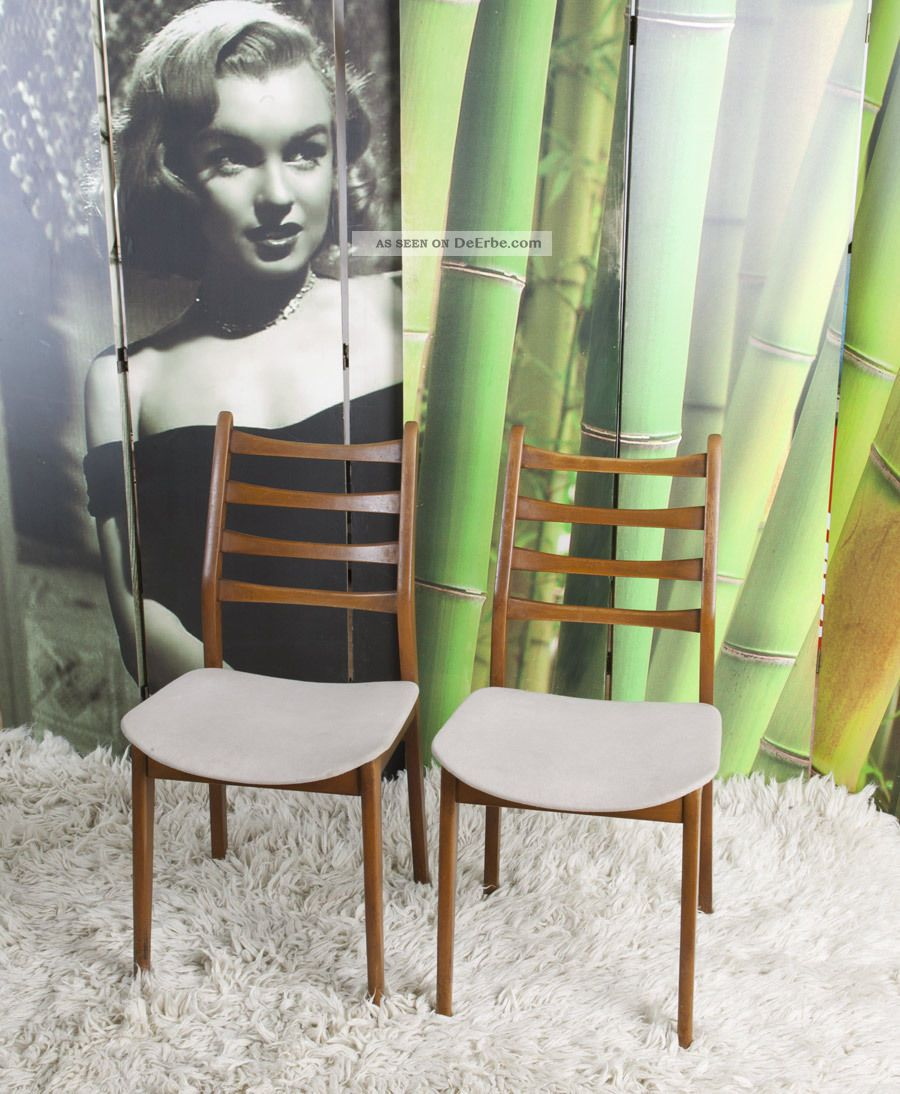 2x Teak   Stuhl Dänisches Design 50/60er Sixties Vintage Dining Chair Chaise