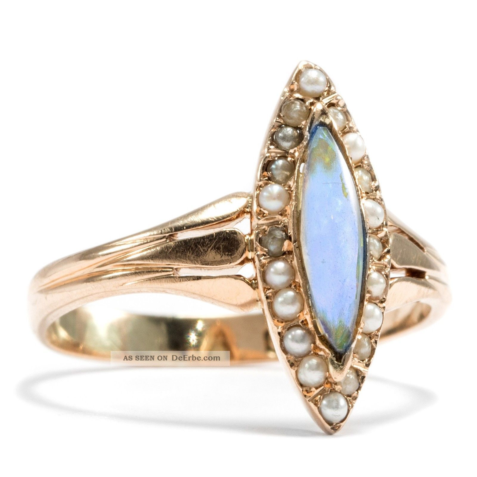 antiker marquise ring in 585 gold opal perlen. Black Bedroom Furniture Sets. Home Design Ideas