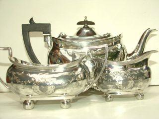 Silber Plate 3 - Teil Große Handgrawierte Service Birningham Englandd Ca.  1890 Bild