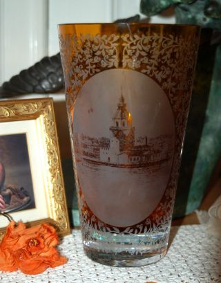 Schwere Alte Vase Mit Geätztem Motiv - Shabby Chic Bild