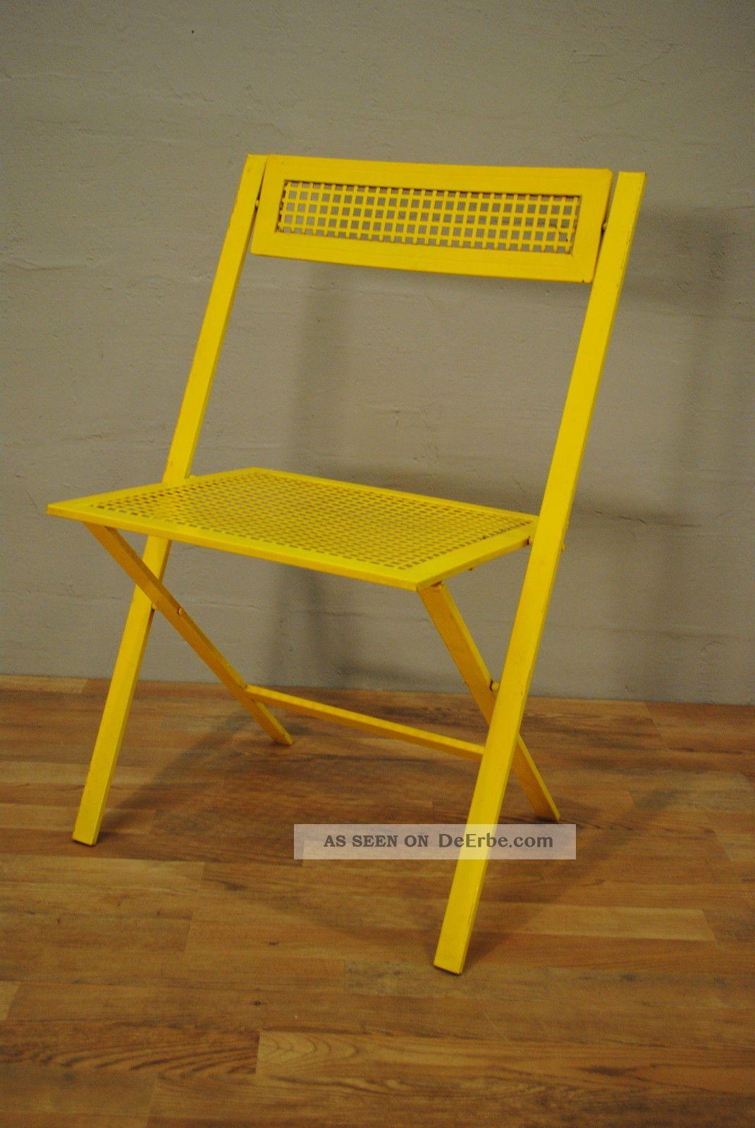 1 klappstuhl eisen garten bistro gelb 70 jahre. Black Bedroom Furniture Sets. Home Design Ideas