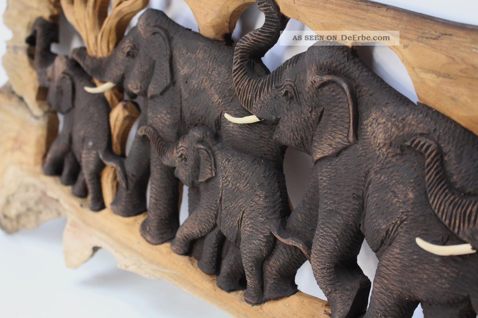 elefantenfamilie elefant holz baumstamm wandbild relief skulptur 97cm nr 9. Black Bedroom Furniture Sets. Home Design Ideas