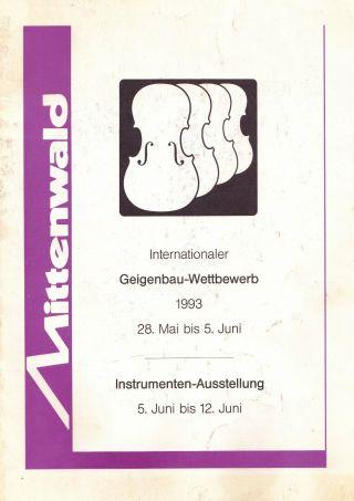 Geigenbau - Wettbewerb Ausstellungskatalog Mittenwald 1993 Bild