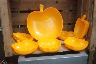 Luran Basf Apfel Apfelschüssel 1große 6 Kleine Gelb 70er Jahre Vintage Schale Bild