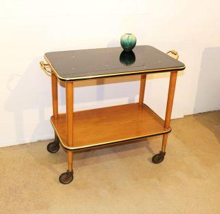 Servierwagen 50er Jahre Holz Mit Glasplatte Teewagen Mid Century Design Trolley Bild